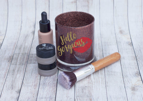 Hello Gorgeous Glitter Makeup Brush Holder