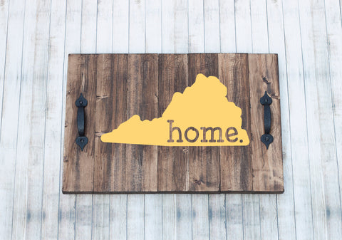 Home State Rustic Ottoman Wood Tray