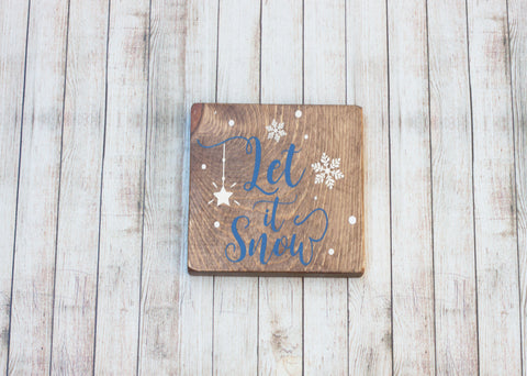 Let It Snow Small Rustic Christmas Wood Sign