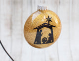 Nativity Scene Glitter Glass Ornament