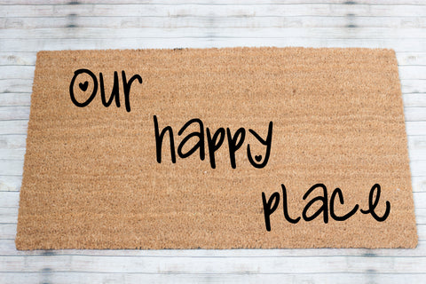 Our Happy Place Coir Front Door Mat