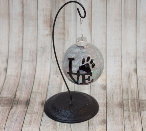 Pet Lover Glitter Glass Ornament