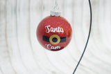Santa Cam Kids Glitter Glass Christmas Ornament