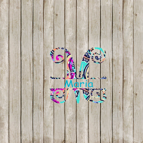 Lilly P Inspired Split Monogram Yeti Decal