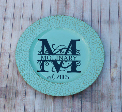 Family Name Monogram Charger Plate