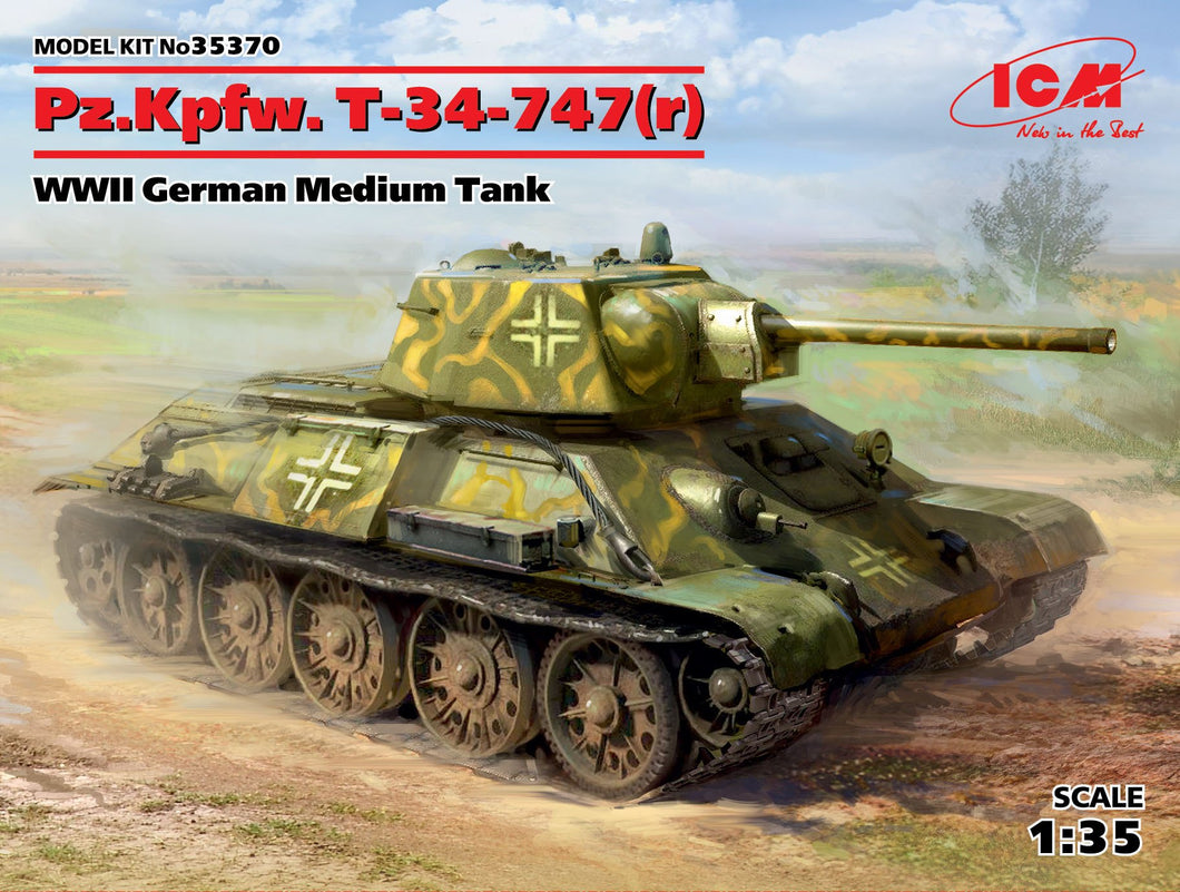 1/35 Pz.Kpfw. 747 T-34 (r), WWII German Medium Tank - Hobby Sense