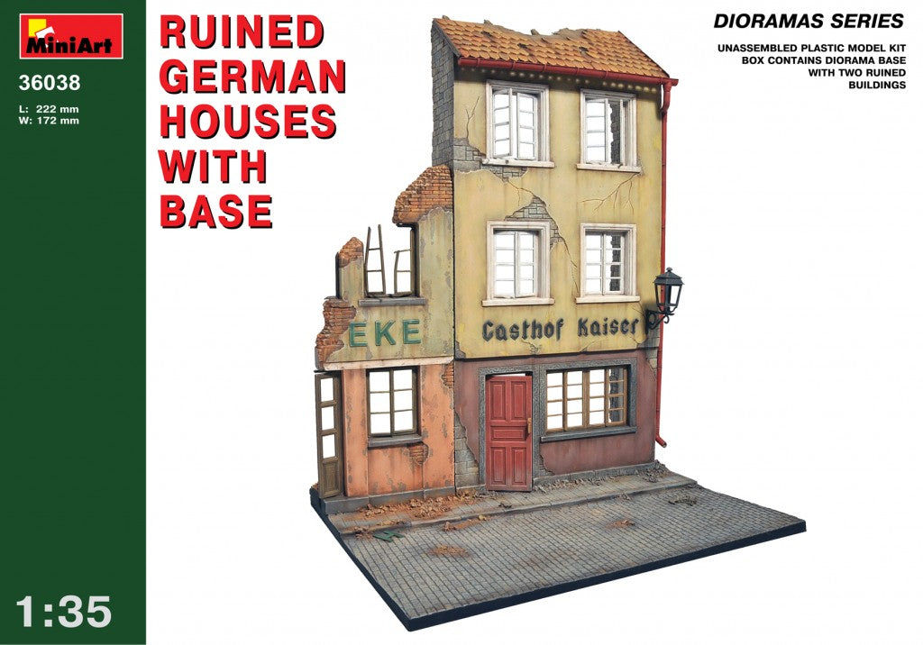 1/35 Ruined German Houses with Base - Hobby Sense