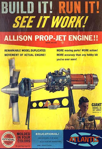 1/10 Allison 501-D13 Prop-Jet Engine w/Moving Parts & Stand (formerly Revell) - Hobby Sense