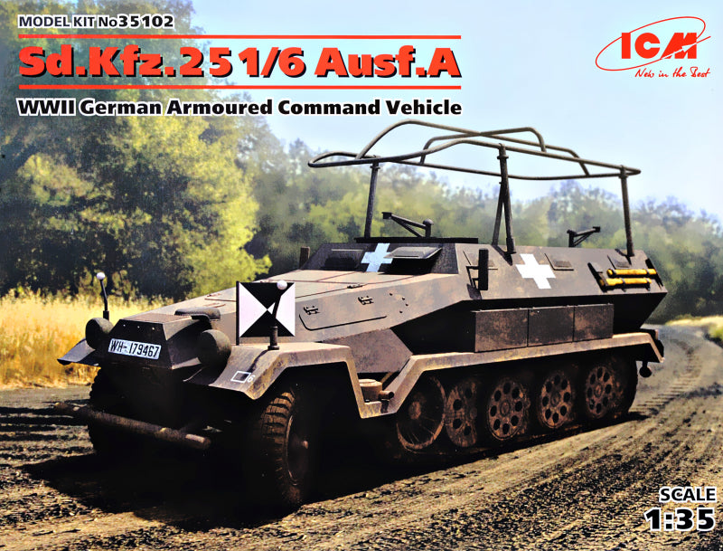 1/35 Sd.Kfz.251/6 Ausf.A, WWII German Armored Command Vehicle - Hobby Sense