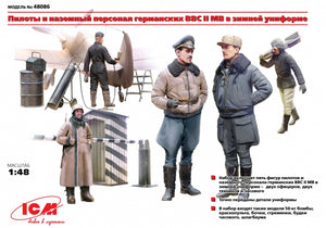 1/48 WWII German Luftwaffe Pilots and Ground Personnel in Winter Uniform (5 figures) - Hobby Sense