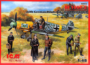 1/48 Bf-109F-2 with German pilots & ground personnel - Hobby Sense