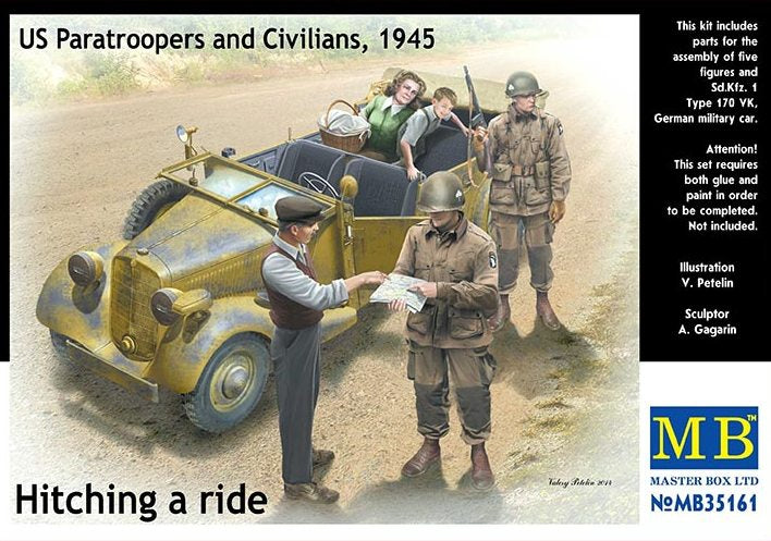 Hitching a ride. US Paratroopers and Civilians, 1945 - Hobby Sense