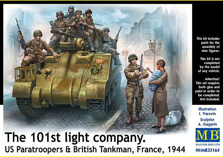 1/35 101th light company. US paratroopers and British tankman, France, 1944 - Hobby Sense