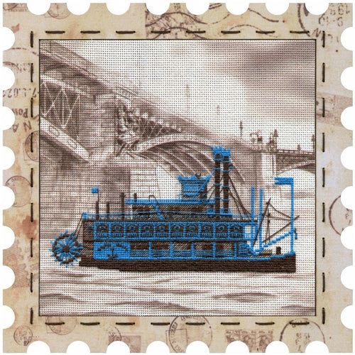 Steamboat cross stitch kit