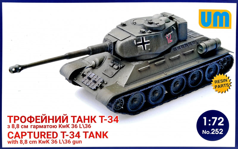 T-34 captured tank with 8,8 cm KwK 36L/36 gun - Hobby Sense