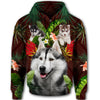 Siberian Husky Flower Pattern 1 All Over Print Full Zip Hoodie ZEUS1001