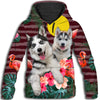 Siberian Husky Flower Pattern 4 All Over Print Hoodie ZEUS1001