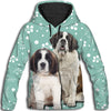 Saint Bernard Flower Pattern 3 All Over Print Hoodie ZEUS1201