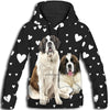 Saint Bernard Flower Pattern 1 All Over Print Hoodie ZEUS1201