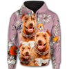 Pit Bull Flower Pattern 4 All Over Print Full Zip Hoodie ZEUS1601