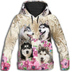 Siberian Husky Flower All Over Print Hoodie ZEUS2512