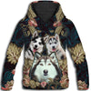 Siberian Husky Flower Pattern 3 All Over Print Hoodie ZEUS1001