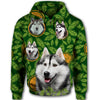 Siberian Husky Flower Pattern 2 All Over Print Full Zip Hoodie ZEUS1001