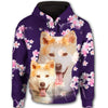 Akita Flower Pattern 4 All Over Print Full Zip Hoodie ZEUS1201