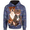 Staffordshire Bull Terrier Flower Pattern 2 All Over Print Full Zip Hoodie ZEUS1101