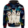 Alaskan Malamute Flower Pattern 3 All Over Print Full Zip Hoodie ZEUS1201