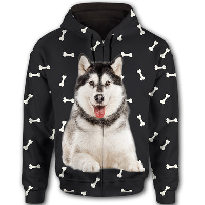 Alaskan Malamute Flower Pattern 2 All Over Print Full Zip Hoodie ZEUS1201