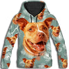 Pit Bull Flower Pattern 2 All Over Print Hoodie ZEUS1701