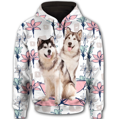Alaskan Malamute Flower Pattern 4 All Over Print Full Zip Hoodie ZEUS1201