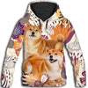 Shiba Inu Flower Pattern 2 All Over Print Hoodie ZEUS1501