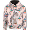 Alaskan Malamute Flower Pattern 1 All Over Print Full Zip Hoodie ZEUS1201