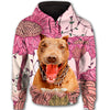 Pit Bull Flower Pattern 1 All Over Print Full Zip Hoodie ZEUS1601
