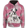 Dalmatian Flower Pattern 2 All Over Print Full Zip Hoodie ZEUS1601