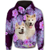 Akita Flower Pattern 2 All Over Print Full Zip Hoodie ZEUS1201