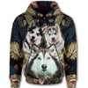 Siberian Husky Flower Pattern 4 All Over Print Full Zip Hoodie ZEUS1001