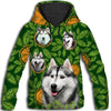 Siberian Husky Flower Pattern 1 All Over Print Hoodie ZEUS1001