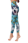 Siberian Husky Flower Pattern 3 Low Rise Leggings ZEUS1001
