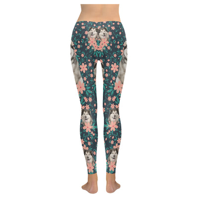 Alaskan Malamute Flower Pattern 3 Low Rise Leggings ZEUS1201