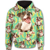 Staffordshire Bull Terrier Flower Pattern 3 All Over Print Full Zip Hoodie ZEUS1101