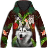 Siberian Husky Flower Pattern 2 All Over Print Hoodie ZEUS1001