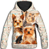 Yorkshire Terrier Flower Pattern  4 All Over Print Hoodie ZEUS1001