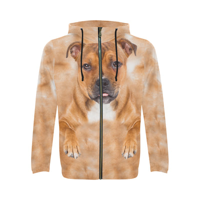 Staffordshire Bull Terrier Face All Over Print Full Zip Hoodie ZEUS291209