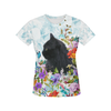 Black Cat Flower 0308 All Over Print T-Shirt for Women