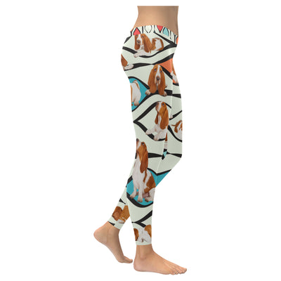 Basset Hound Flower Pattern 3 Low Rise Leggings ZEUS1801