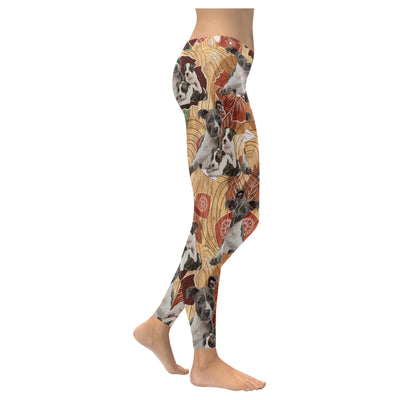 American Staffordshire Terrier Flower Pattern 3 Low Rise Leggings ZEUS1001