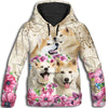 Akita Flower All Over Print Hoodie ZEUS060120